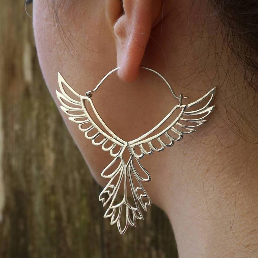 Large Phoenix Bird Statement Earrings in Solid Sterling Silver - Large Feather Hoops - Tribal Goddess Jewelry (S152)