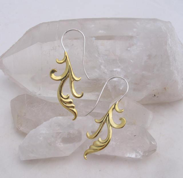 Dangle Earrings - Boho earrings - Brass/Silver Two-tone - Cherish