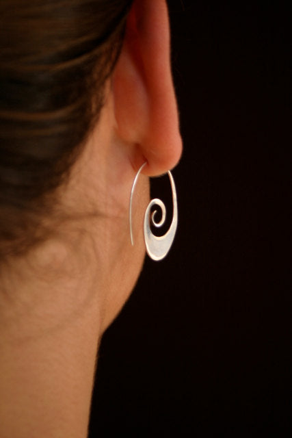 Small Tribal Spiral Hoop Earrings in Sterling Silver