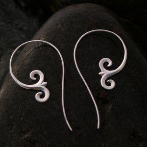Minimal Tribal Spiral Hoop Earrings Sterling Silver