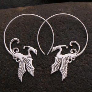 Rising Phoenix Bird Earrings Sterling Silver