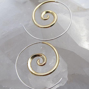Golden Spiral earrings - Brass With Silver Posts