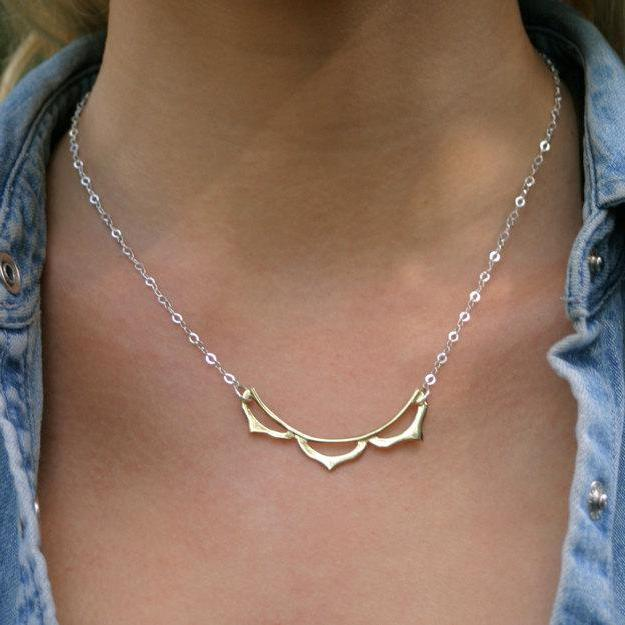 Lotus Flower Petal Necklace Brass and Silver