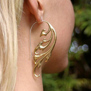Art Nouveau Large Tribal Brass Earrings