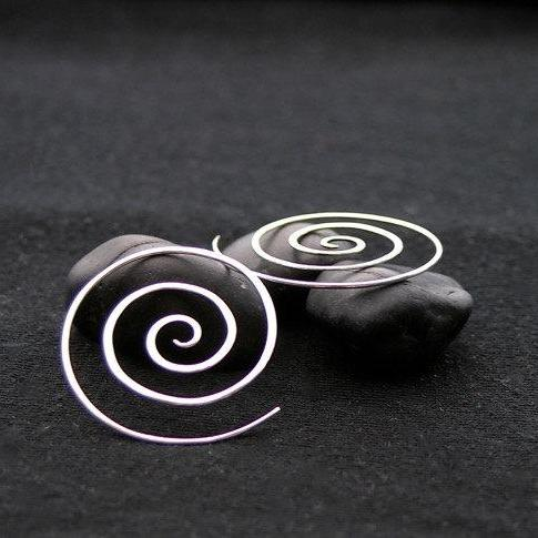Silver Spiral Earrings - solid sterling silver - Serenity spiral
