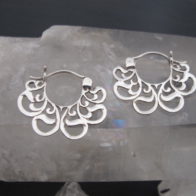 Small Ornate Hoop Earrings Sterling Silver