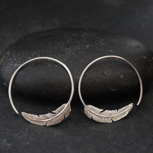 Small Silver Feather Hoop Earrings