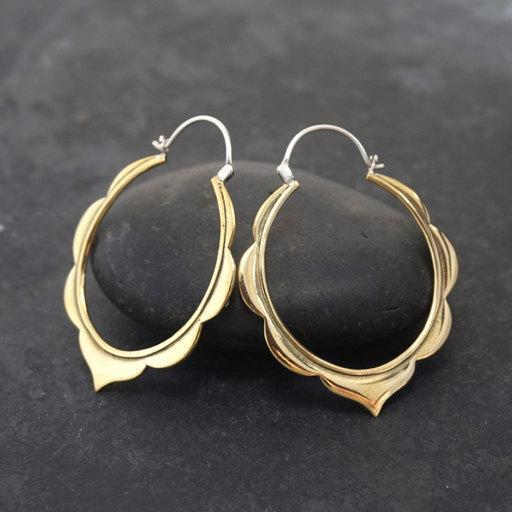 Moroccan Hoop Earrings Large Brass With Silver Posts