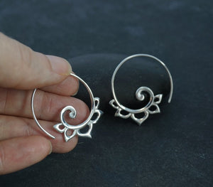 Sterling Silver Spiral Earrings - boho earrings - gypsy earrings - Anakku