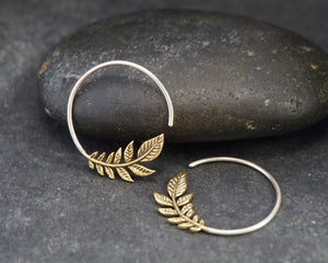 Olive Leaf Earrings - Brass with solid sterling silver hoop - Peace Earrings
