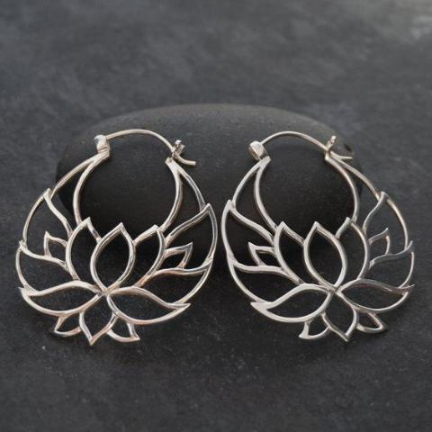 Lotus Flower Tribal Earrings Large Sterling Silver