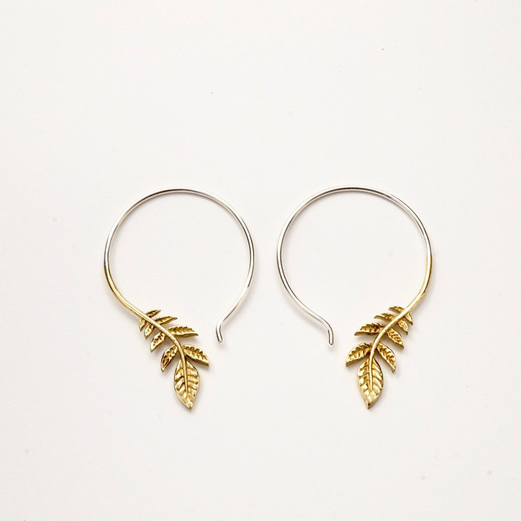 Olive Branch Earrings - Brass with Silver hoop - leaf dangle