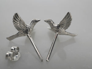 Bird Stud Earrings Sterling Silver (s228)