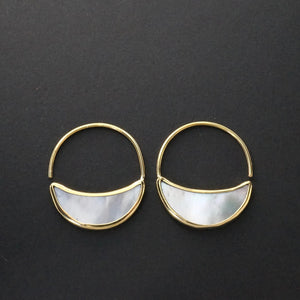 Small Crescent Moon Earrings - Mother Of Pearl Hoops - Eclipse Statement earrings - (248B)