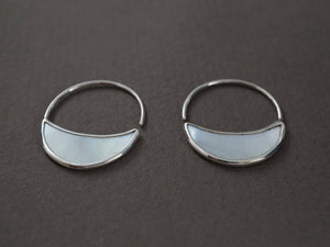 Small Mother of Pearl Crescent Moon Hoops with Sterling Silver bezel and Ear-wire. 2.5 cm diameter hoop.