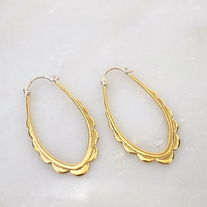 Oval Scalloped Brass Hoop Earrings
