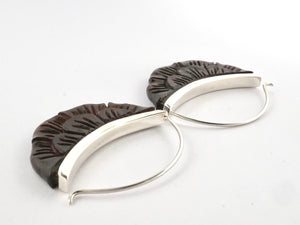 Moon Flower Hoop Earrings - Hand-carved wood & sterling silver (s224)