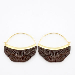 Moon Flower Hoop Earrings - Hand-carved wood & gold-tone (b224)