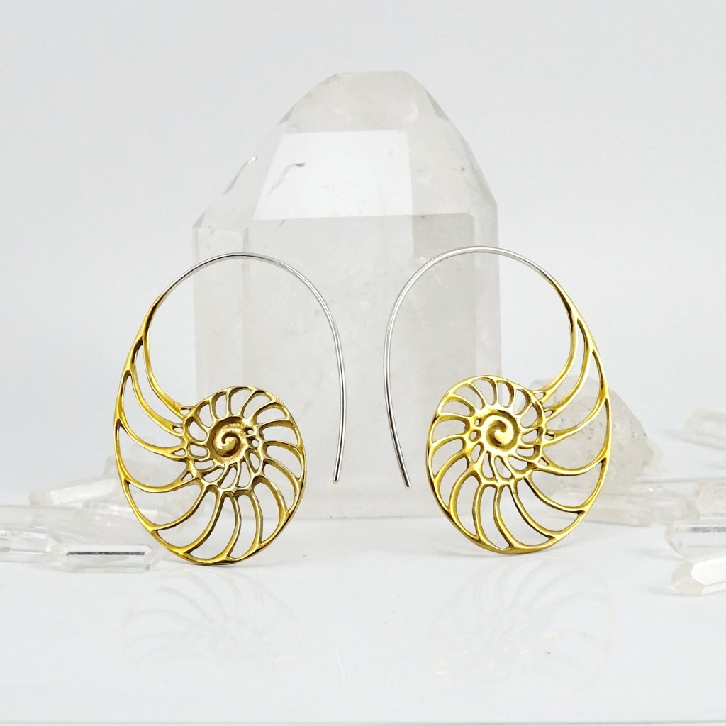 Ammonite Nautilus Earrings Brass with Silver Ear-wire