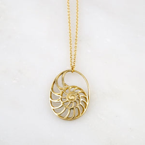 Nautilus Necklace Brass Ammonite Pendant