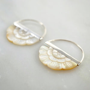 Small Hand-Carved Mother of Pearl Flower Earrings with Sterling Silver bezel