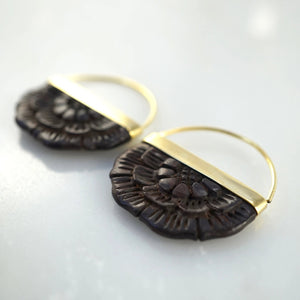 Small Hand-Carved Wood Flower Earrings with Brass Bezel.