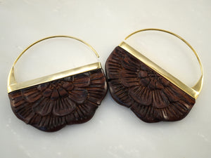 Wood Earrings - Flower earrings Brass - Large Rising Sun
