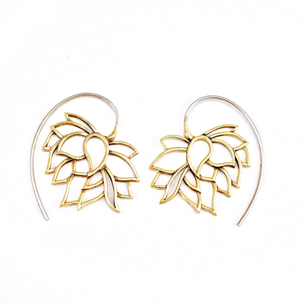 Lotus Flower Tribal Earrings Small Brass
