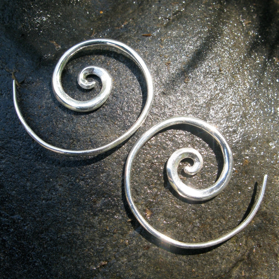 Solid Sterling Silver Spiral Earrings - Minimalist Jewelry