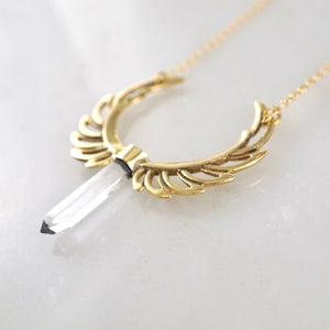 Crystal Phoenix Feather Necklace - Statement Necklace with quartz crystal point.