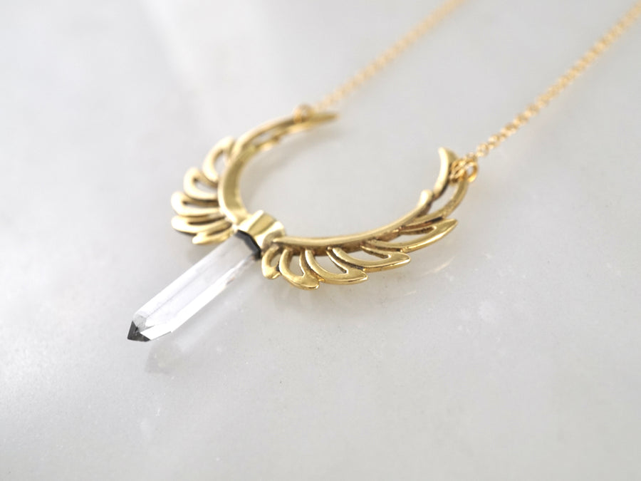 Feather necklace - Crystal necklace - quartz crystal point -  bird necklace- brass w/ silver chain - spirit wing