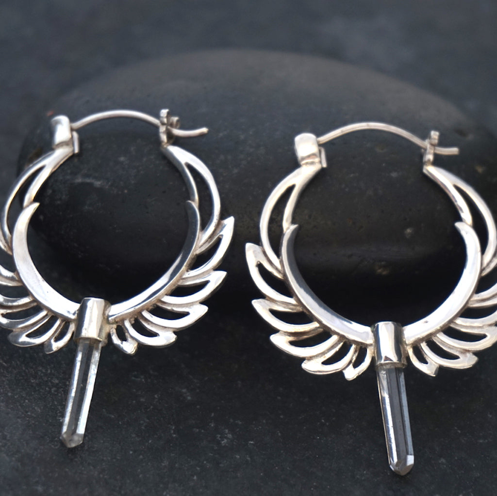 Feather Hoops Earrings Silver With Clear Quartz Points