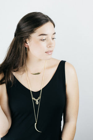 Talon Necklace, Spear necklace,  Brass with Sterling Silver Chain - Large talon necklace