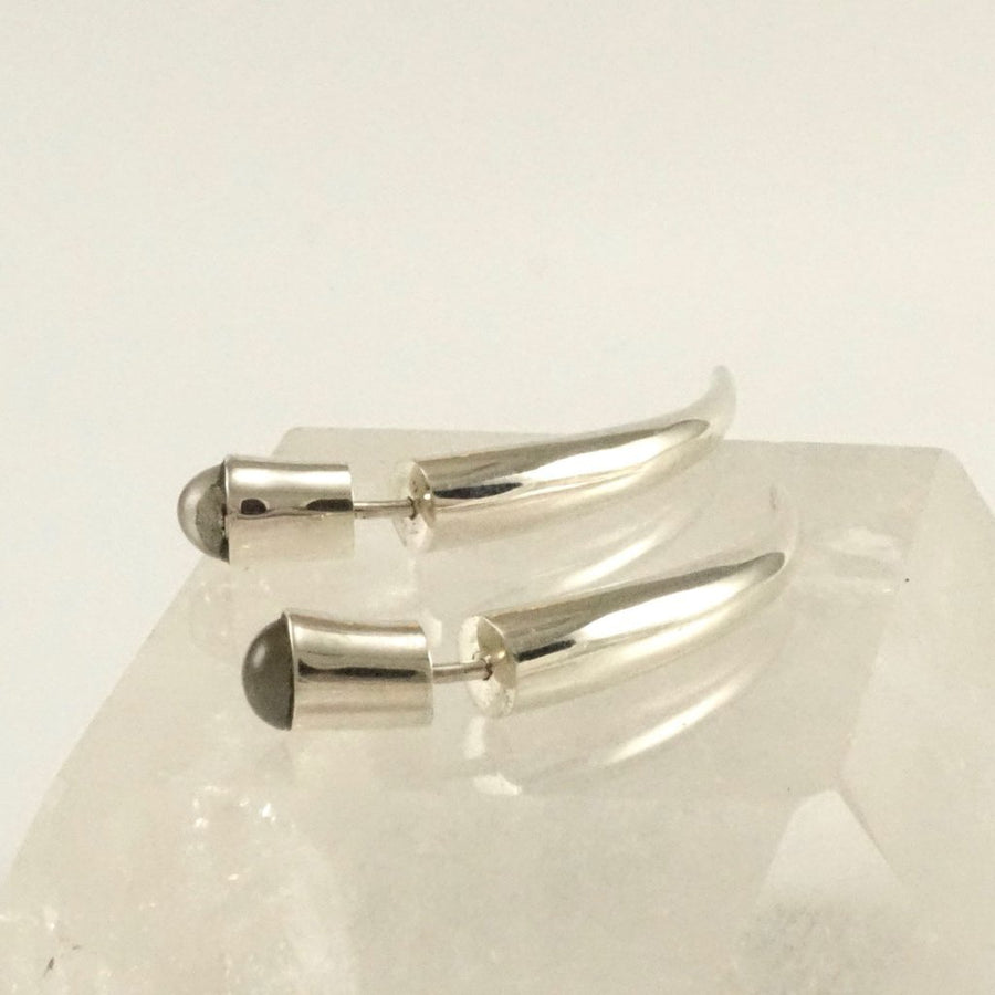 Moonstone and Sterling Silver Fake Gauge Talon Earrings