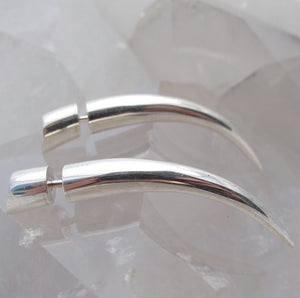 Fake Gauge Earrings -  Small Sterling Silver Talons