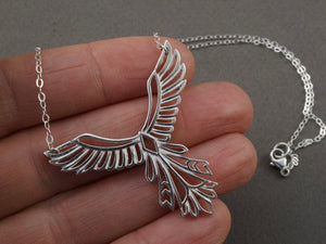 Phoenix Necklace -Sterling Silver - Bird Pendant - Inspirational Gift