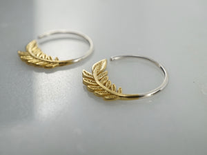 Tiny Leaf Hoop Earrings - Nature Jewelry - Olive Leaf Sleeper - Brass w/ solid sterling hoop 232B