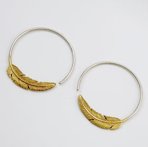 Small Gold Feather Hoop Earrings