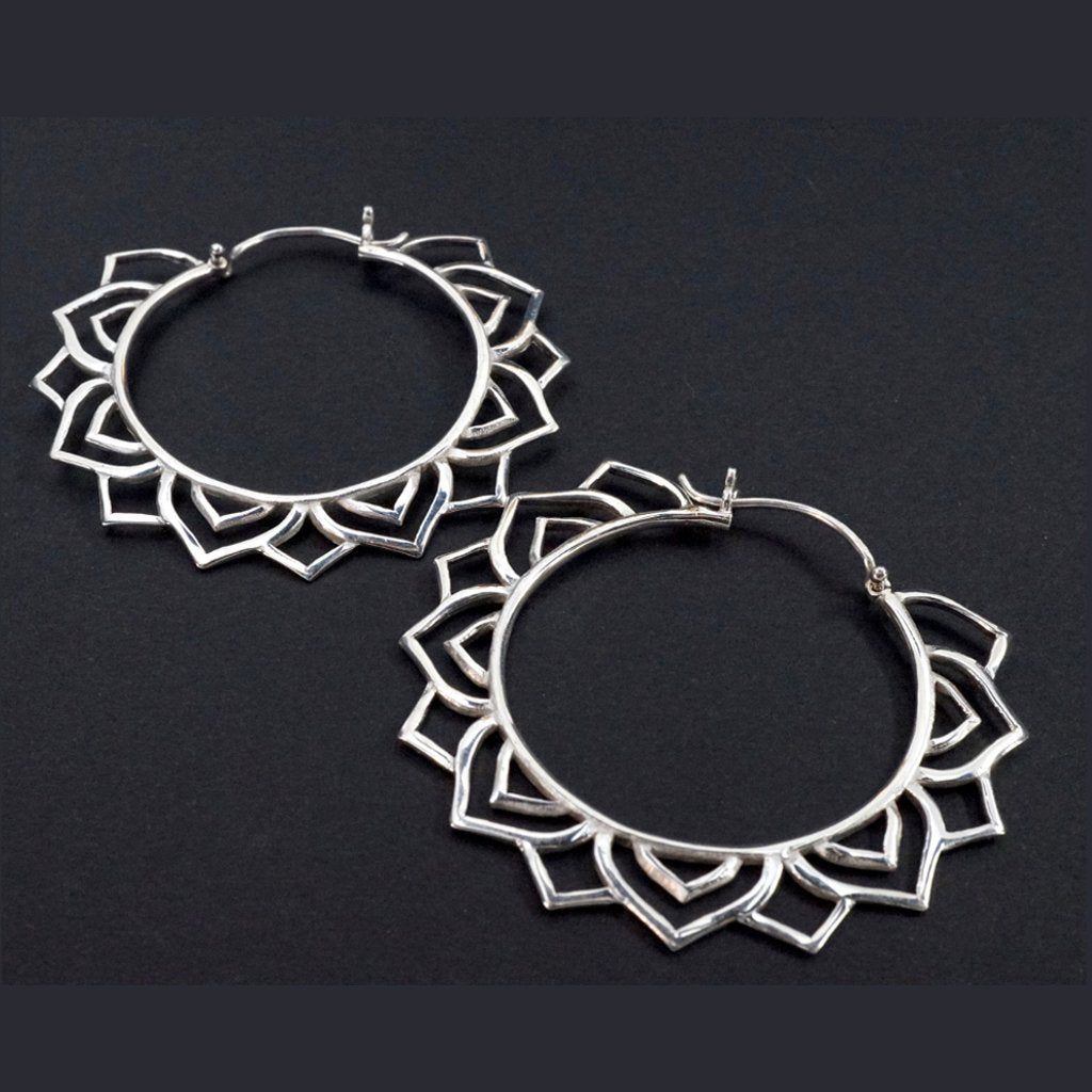 Mandala Star Earrings - Medium Solid Sterling Silver Hoops