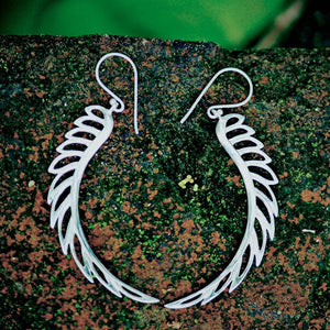 Silver Dangle Feather Earrings - Vela - Sterling Silver
