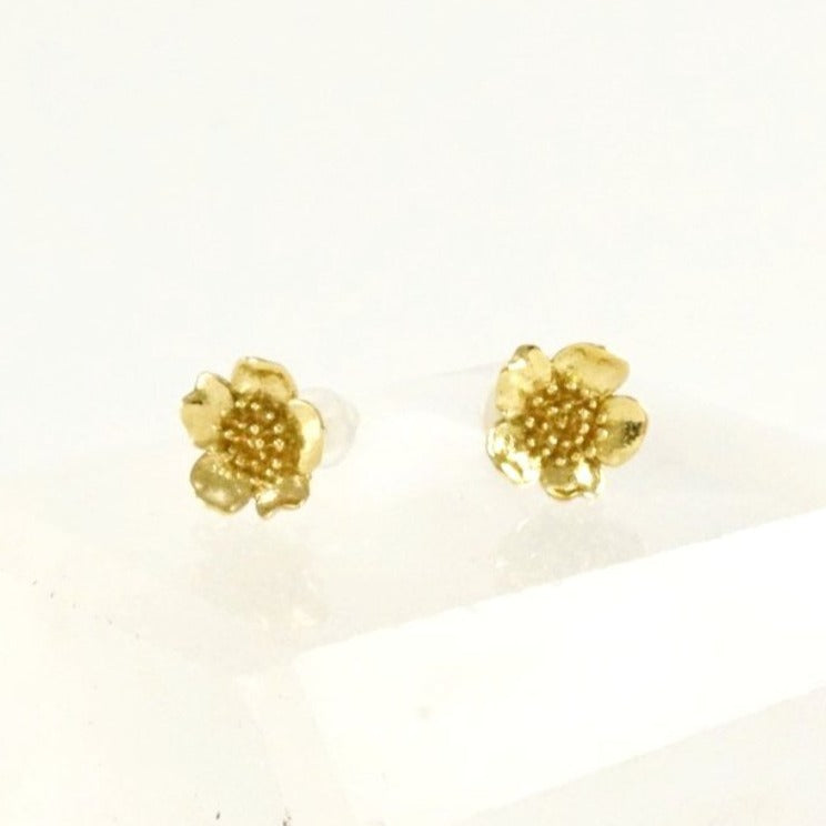 Wild Rose Stud earrings - Gold-Tone With Sterling Silver Post