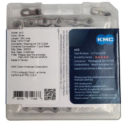 KMC e10 10 Speed  E-Bike Chain 136 links