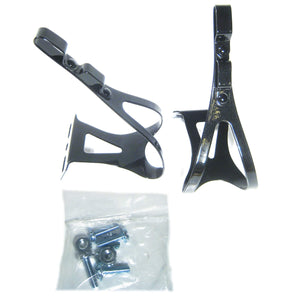Chien King Double Strap Steel Road Toe Clips (Black, Medium) - TheBikesmiths