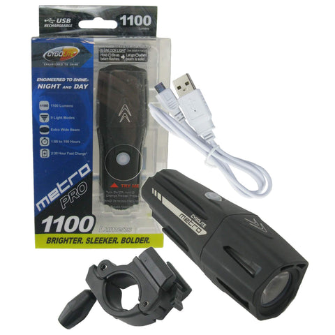 Image of CygoLite Metro Pro 1100 Lumen USB Rechargeable Headlight - TheBikesmiths