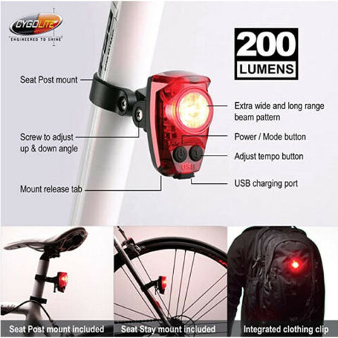 Cygolite Hotshot Pro 200 USB Rechargeable Tail Light Seat Post Mount