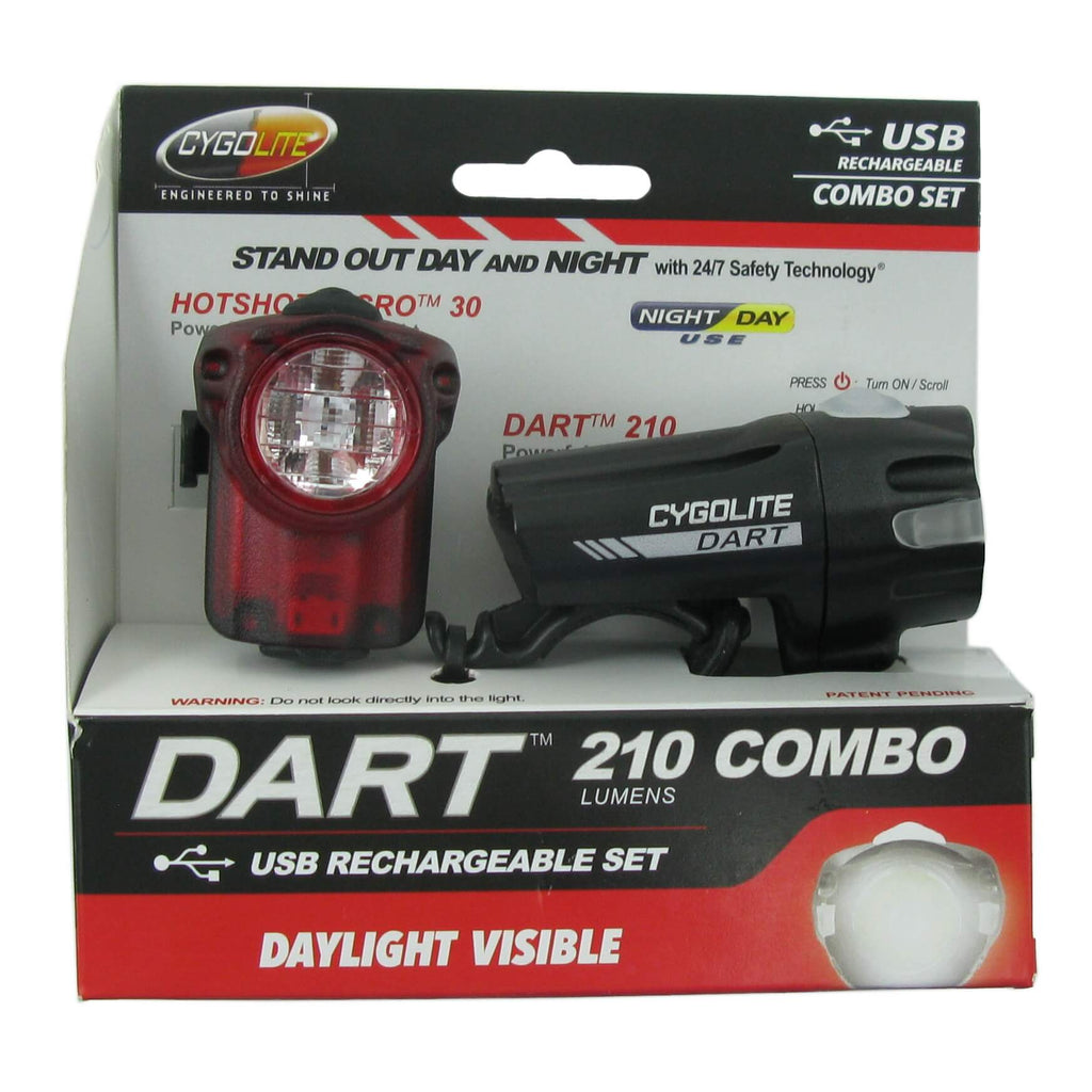 Cygolite Dart 210 Headlight and Hotshot Micro 30 Taillight Set - TheBikesmiths