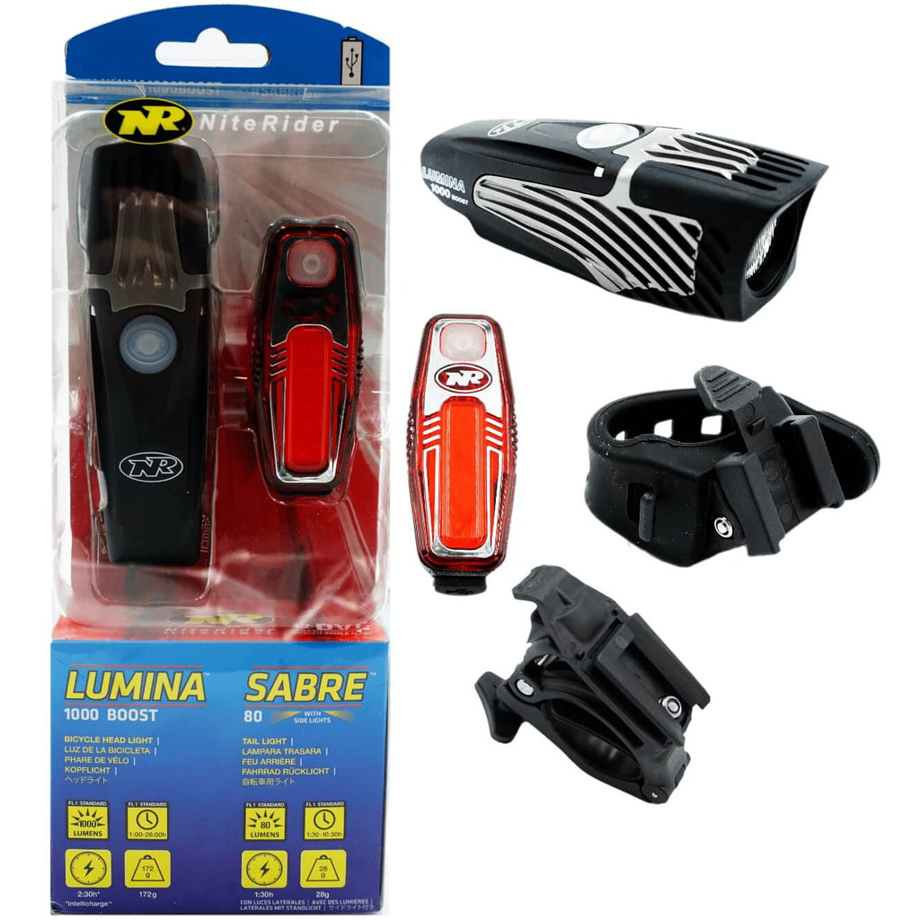 Niterider Lumina Boost 1000 Sabre 80 Rechargeable Light Set - TheBikesmiths
