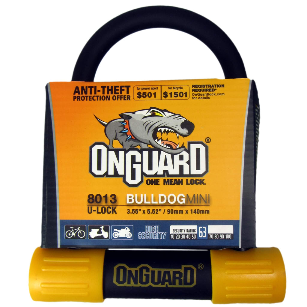 OnGuard 8013 Bulldog Mini 9cm x 14cm Key U-lock - TheBikesmiths