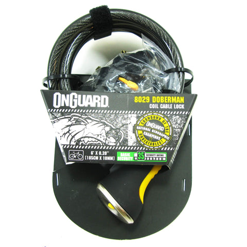 OnGuard Doberman 8029 With Key Lock 8mm x 6' Cable - TheBikesmiths