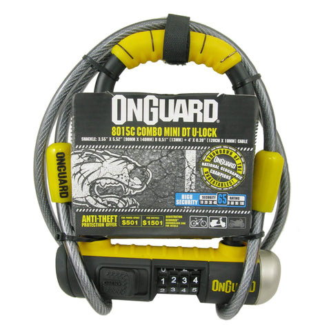 Image of OnGuard 8015C Bulldog Mini 90mm x 140mm Combo U-Lock w-4' Cable